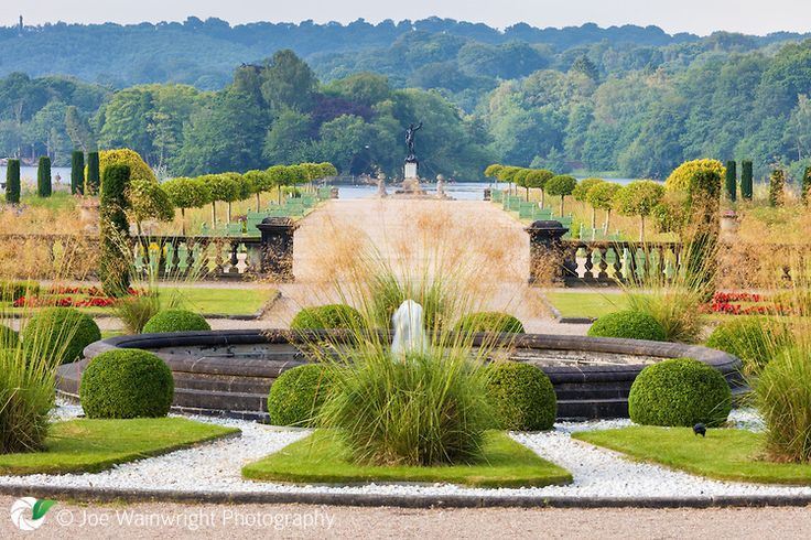 A view over the Italian Garden at Trentham Gardens, Staffordshire, from the Upper Flower Garden