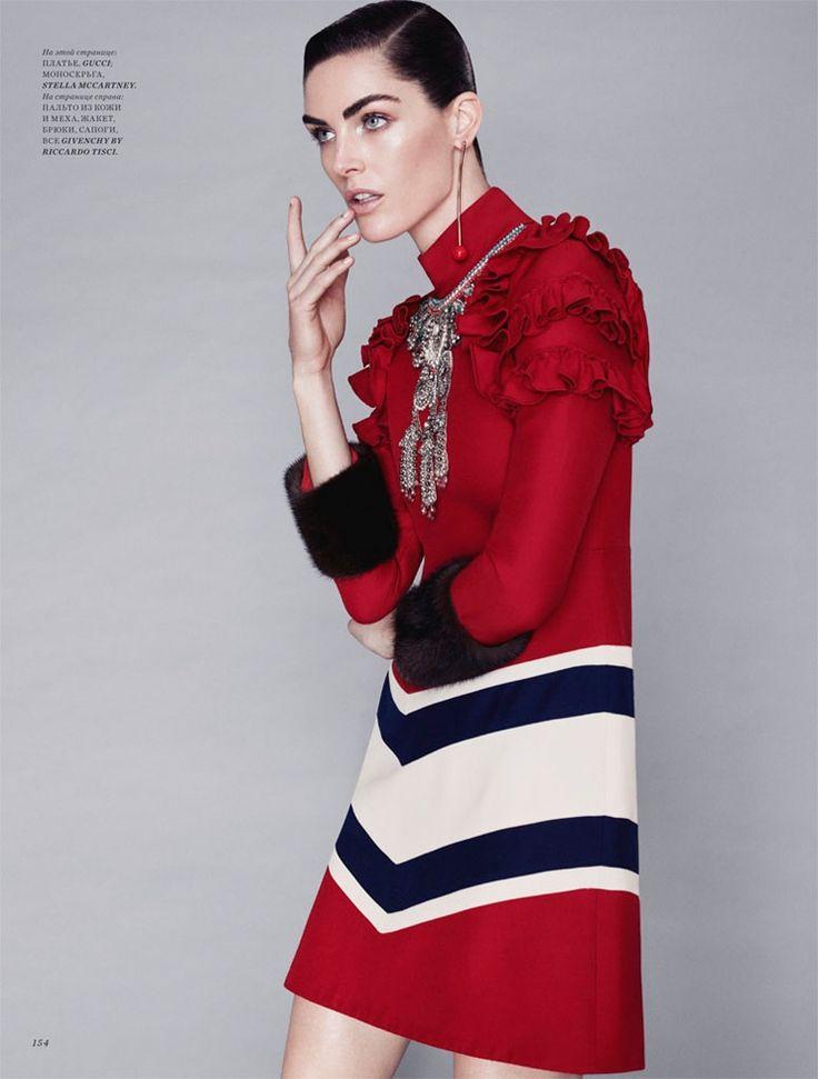 Looking lovely in red, Hilary Rhoda models Gucci dress with ruffles for Harper's Bazaar Magazine Kazakhstan December 2016 issue