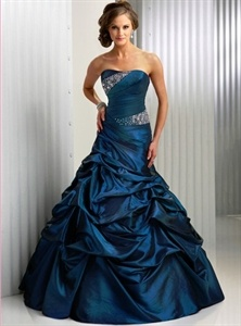 Fantasy Taffeta Scoop Sapphire Blue Ball Gown Dress With A Corset Back $158.00