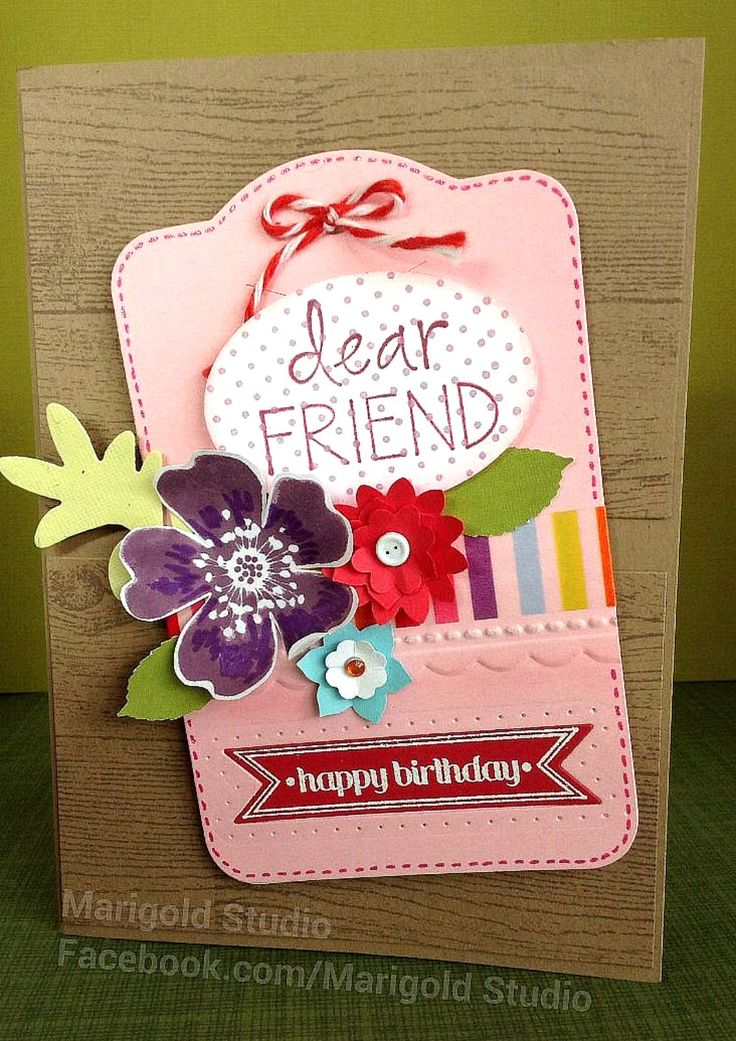 15 best birthday cards tags invites favors handcrafted by handcrafted and hand stamped birthday card for a friend by marigold studio facebook m4hsunfo
