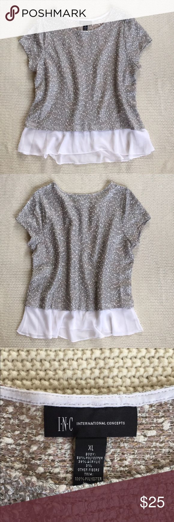 INC Top Gray/silver short sleeve top with slight shimmer. 58% polyester, 39% acrylic, 3% other fibers. White part - 100% polyester. INC International Concepts Tops