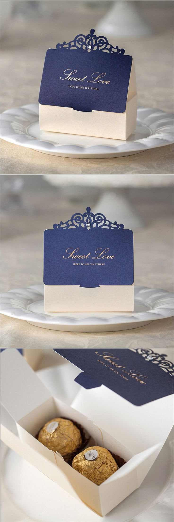 Romantic Lover Wedding Gift and Favors Bag Elegant Luxury Decoration Laser Party Event Supplies Blue Paper Candy Box For Guest