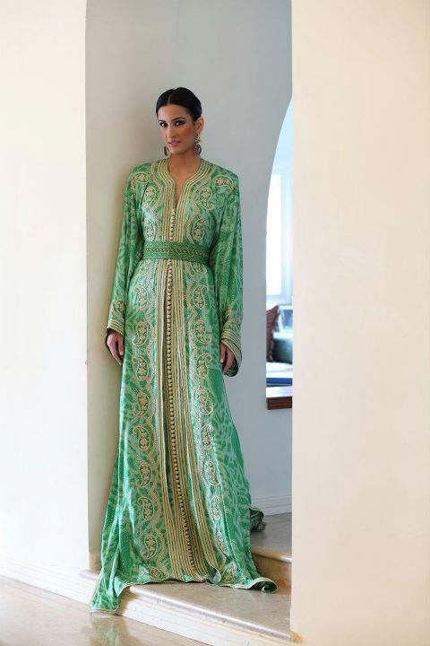 Green and gold caftan
