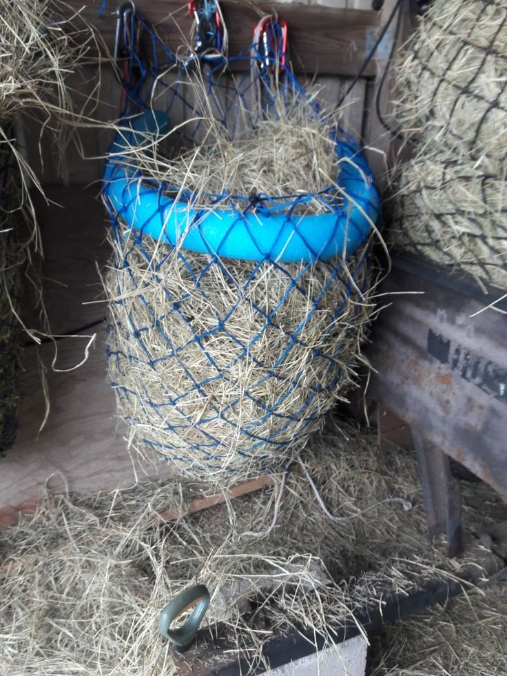 i found when loading a hay net that putting in a pool noodle makes it easier to load. Also added drawstring to tighten the hay net.