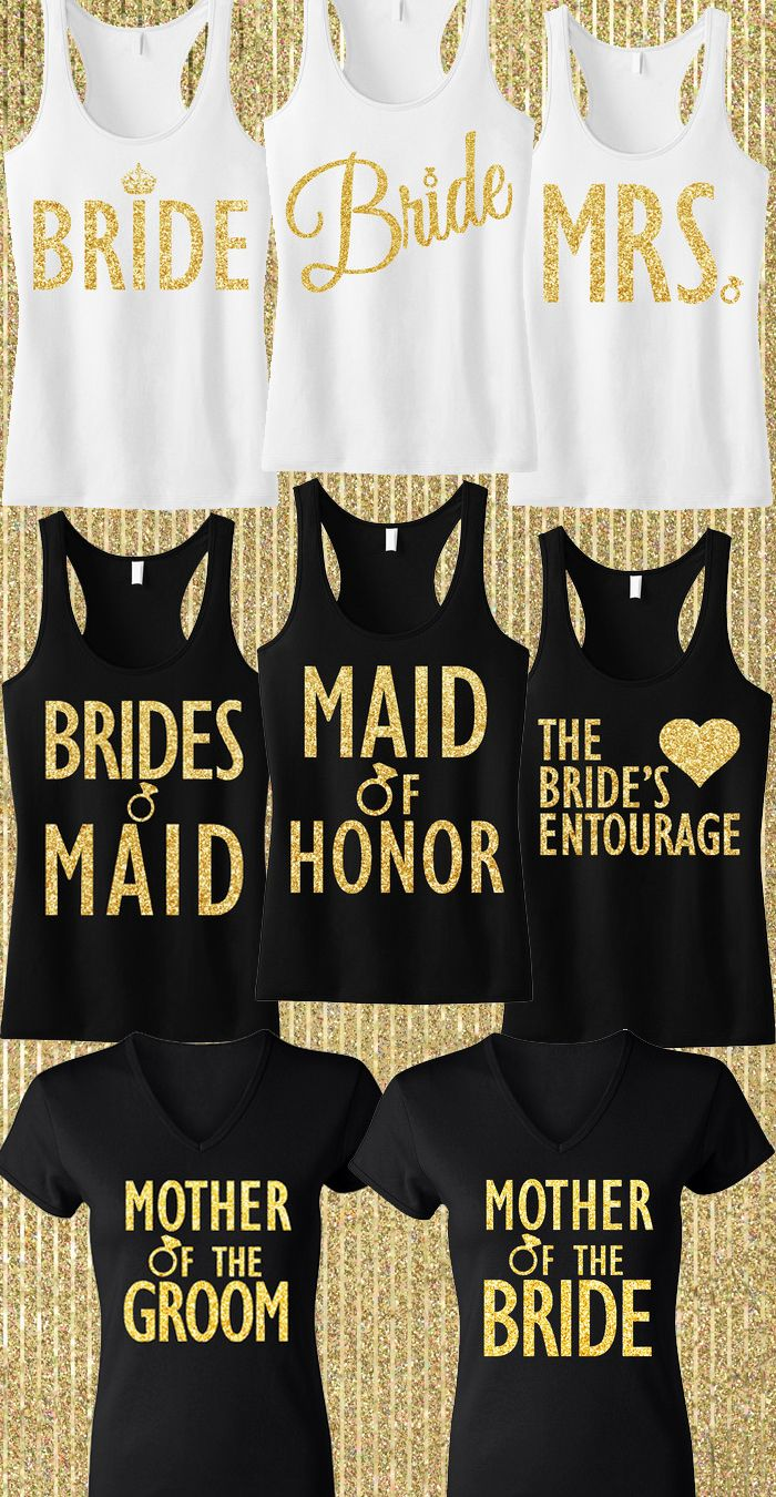 Gold Glitter #Wedding tank tops! Cute for the Bachelorette Party, and getting ready for the wedding. Found at MRS. Bridal shop, click here to buy http://mrsbridalshop.com/