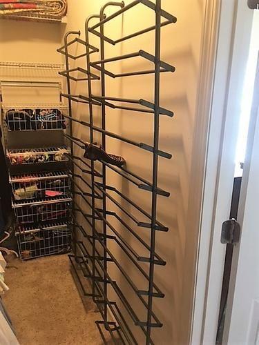 Gunmetal Over The Door Shoe Rack. Container Store. Over Door Or Affix To  Wall.