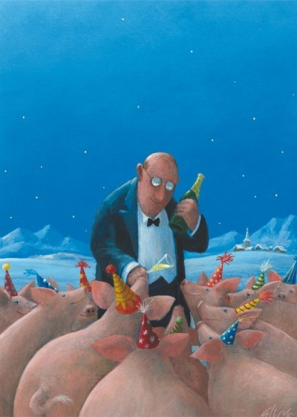 Festschweine: Illustration by Gerhard Glück (10,5 x 14,8 cm Postkarte, €1.00)