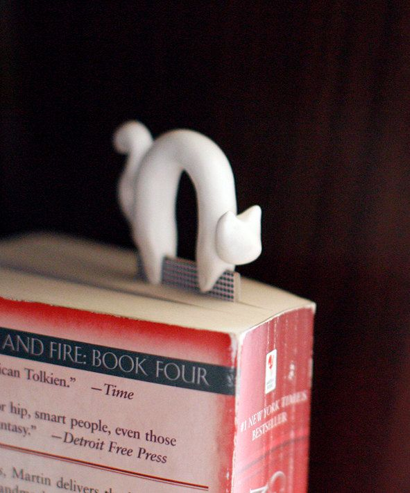 Bookmark white cat handmade from polymer clay