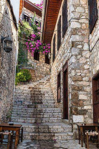 stairs, marmaris, turkey.