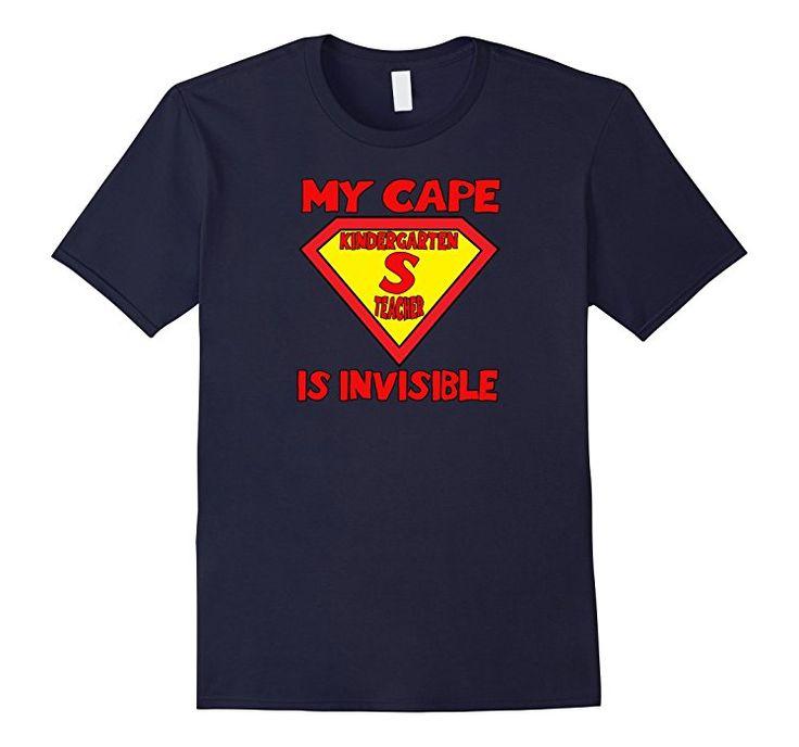Men's Kindergarten Teacher Tshirt Super Hero My Cape Is Invisible 3XL Navy