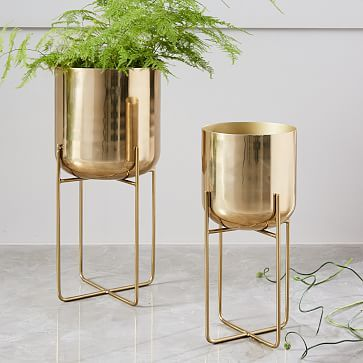Superior Spun Metal Standing Planter, Brass, Large