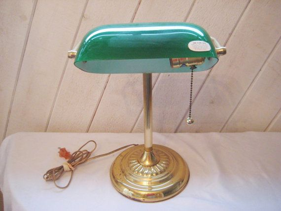 400 kr. Brass desk lamp with green glass shade bankers by EndlesslyVintage