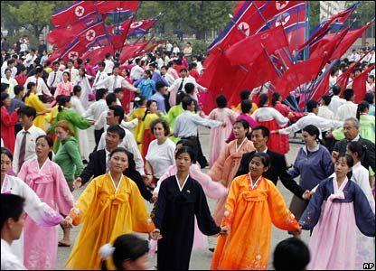 North Korea people dancing