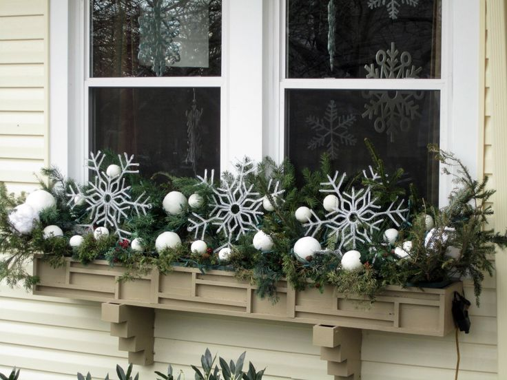 Window Boxes Decorated For Winter | Flower pot ideas