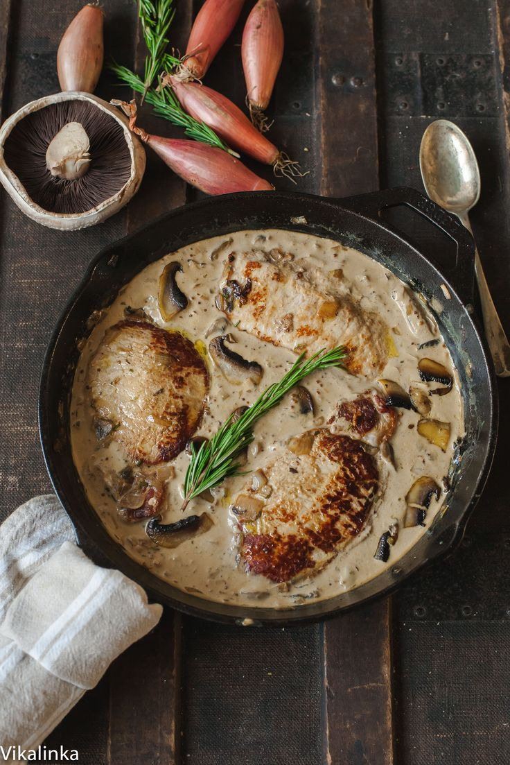 Juicy pork loin steaks in luscious shallot and mushroom sauce that are ready in 15 minutes!
