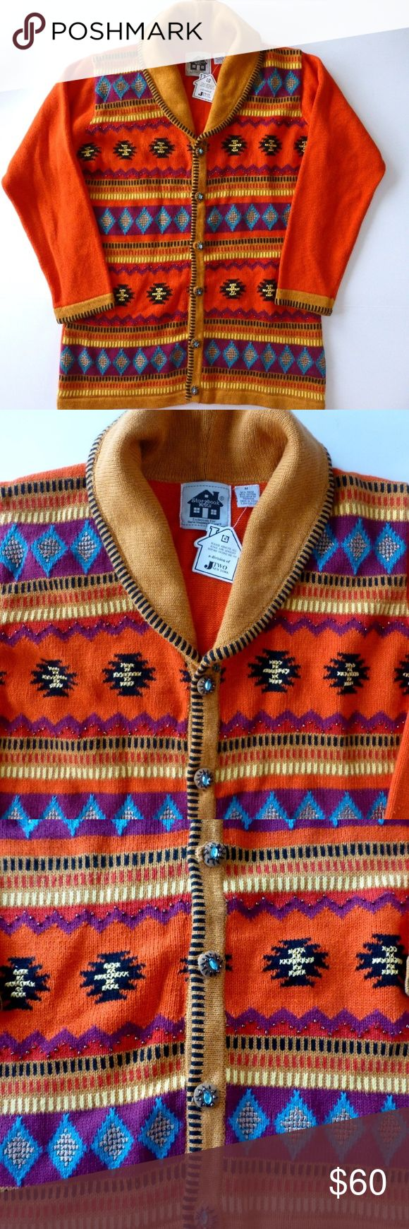 "Storybook Knits Sundance Southwestern cardigan NWT Vibrant Southwest colors Shawl collar Specialty buttons 55% ramie 45% cotton Hand wash, dry flat 21.75"" armpit to armpit 28.5"" from back of neck to hem New with tag Storybook Knits  Sweaters Cardigans"