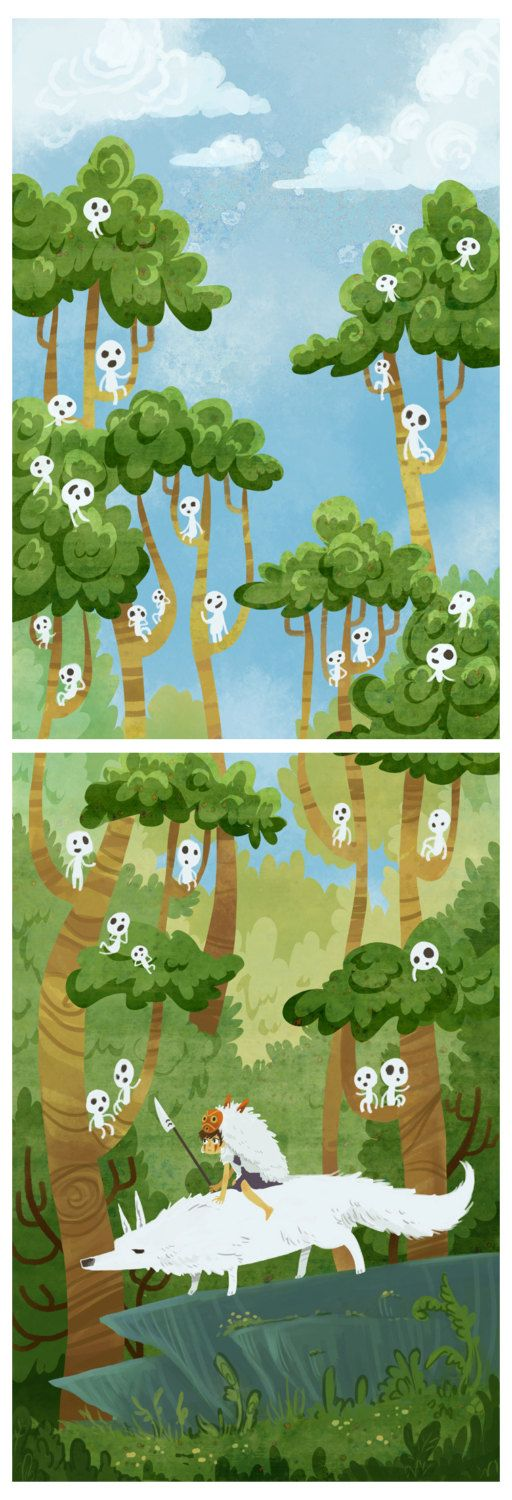 Princess of the Forest -- 2 poster print set. $40.00, via Etsy.