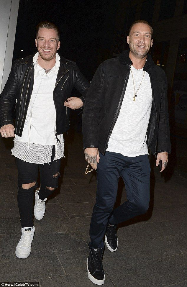 Relaxed: Jamie O'Hara looked all smiles as he headed out for dinner with his best Celebrity Big Brother pal Calum Best in Manchester on Wednesday evening