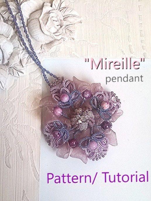 Mireille pendant -  Ankars Pattern/ TUTORIAL by AnaIuliaTattingLace on Etsy