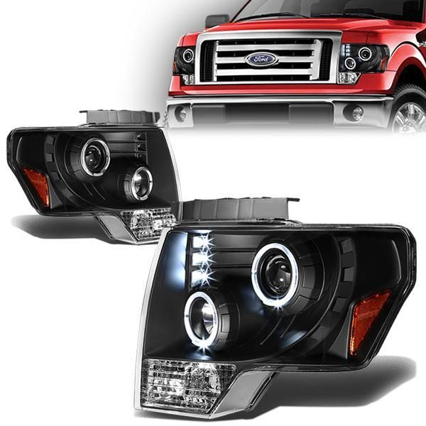 09 14 Ford F150 Led Halo Ring Projector Headlights Black Housing Amber Corner Projector Headlights Ford Black Rings