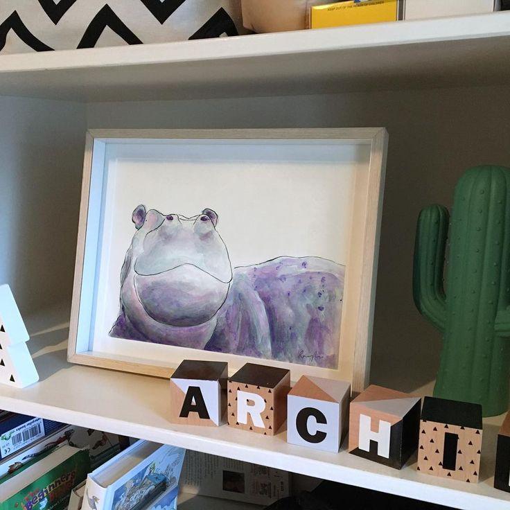"50 Likes, 4 Comments - Raewyn Pope Illustration (@raewynpope) on Instagram: ""Derek the hippo sitting pretty 💜"""