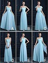 Vestido de Dama de Honor - Azul cielo Corte en A Sin Tirantes - Hasta el Tobillo Raso