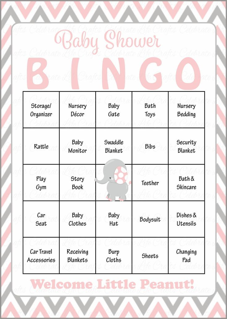 Elephant Baby Bingo Cards - Printable Download - Prefilled - Baby Shower Game for Girl - Pink & Gray