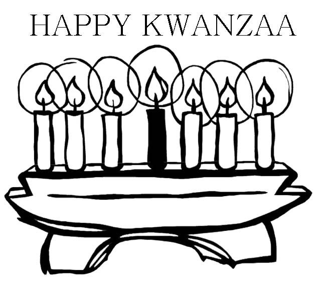 Happy kwanzaa with candles coloring page