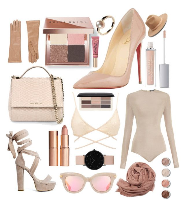 """NUDE"" by canara-imin on Polyvore featuring Bobbi Brown Cosmetics, Christian Louboutin, ArtDeco, Balmain, Charlotte Russe, H&M, Givenchy, Topshop, Lack of Color and Too Faced Cosmetics"
