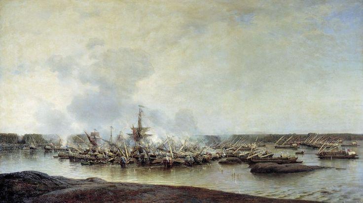 Szwedzkie okręty okrążone przez rosyjskie galery podczas bitwy pod Hanko, 7 sierpnia 1714 roku
