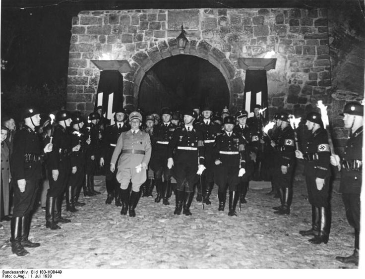 Reichsführer Heinrich Himmler leads an Allgemeine-SS ceremony on the anniversary of the death of Heinrich I at Quedlinburg, July 1938
