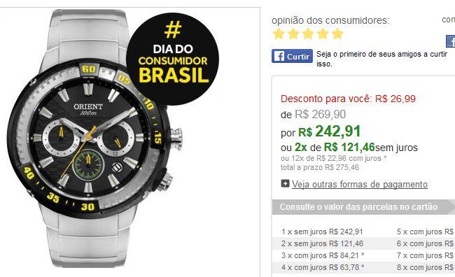 Relógio Masculino Orient Cronógrafo, Pulseira de Aço, Caixa 4,8 cm, Resistência a Água 100 Metros MBSSC133 >