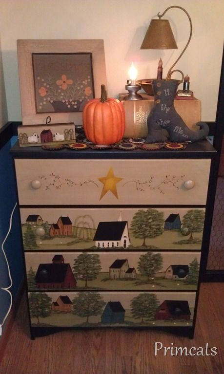 primitive dresser. Just a thought I wonder if you could put primitive wall border on a painted dresser?