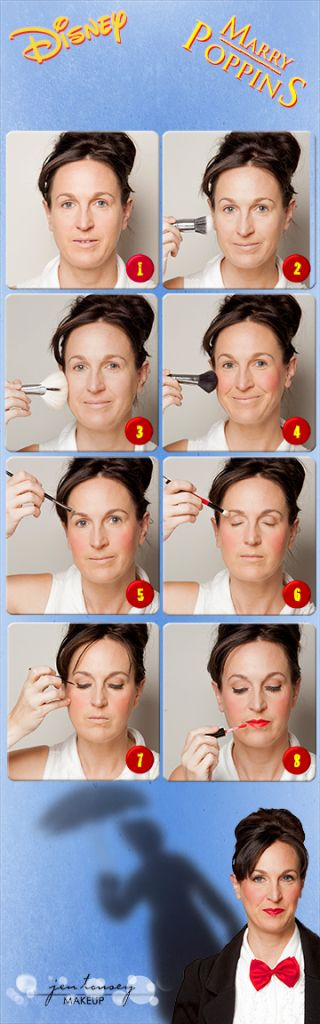 Mary Poppins makeup tutorial. I'll need this for Halloween.