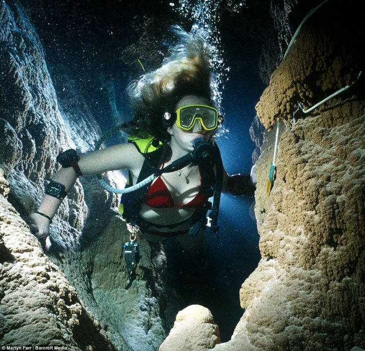 Jenny Pinder swims through the underwater passages of the Grotta Giusti Cave in Tuscany, Italy. where geothermal activity heats the water to an amazing 35 degrees centigrade