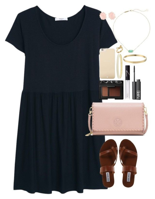 """Spinning like a girl in a brand new dress, we had this big wide city all to ourselves"" by lauren-hailey ❤ liked on Polyvore featuring MANGO, Steve Madden, Tory Burch, NARS Cosmetics, Kate Spade and Kendra Scott"