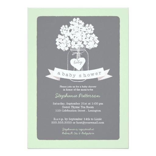 Sweet Mason Jar Neutral Baby Shower Invitation