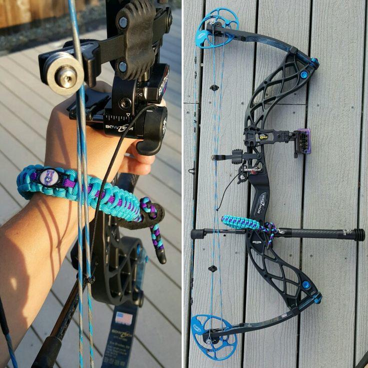 Bowtech Eva Shockey Signature Series, Spider Archery Stabilizer, MBG Revenge Bowsight, QAD Ultra Rest, Premium Paracord Designs wrist sling