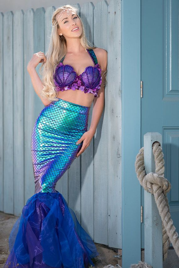 Sirena traje adulto  conchas de púrpura Ariel