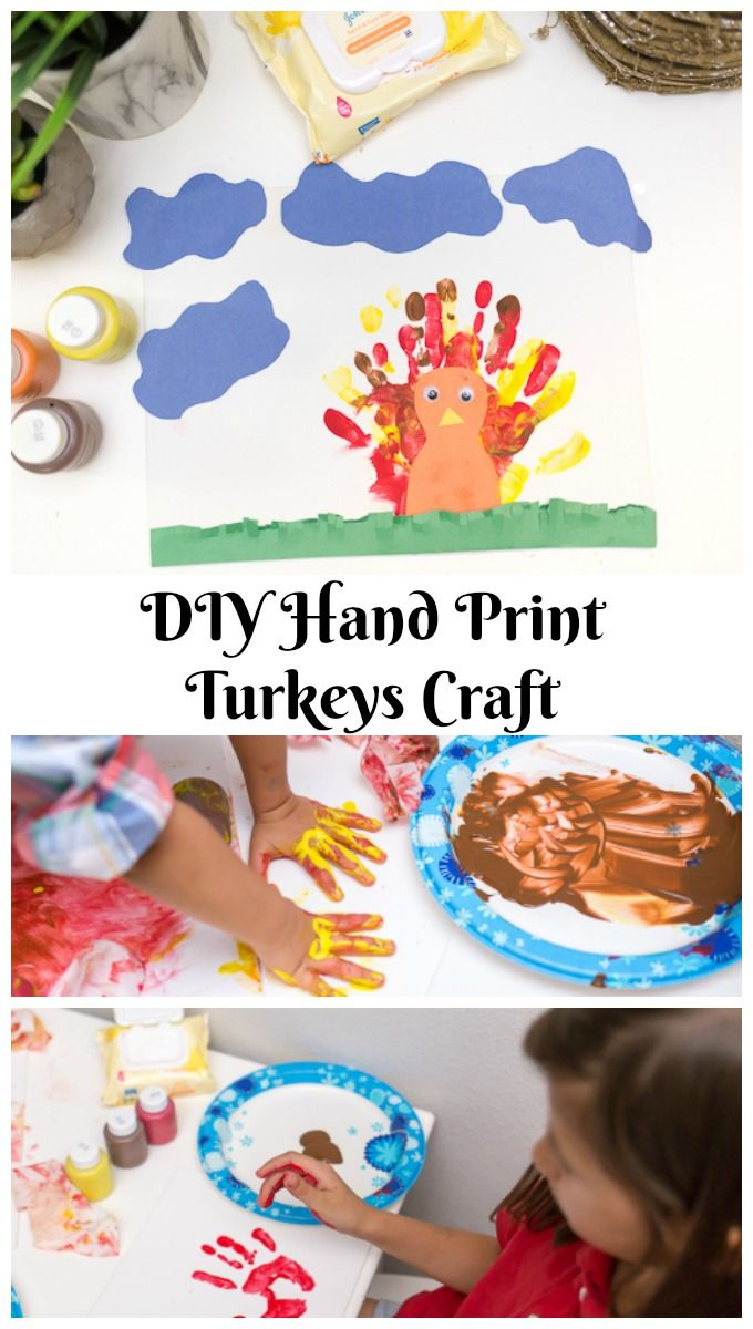 Do You Have Craft Little Ones At Home Try This DIY Hand Print Turkeys