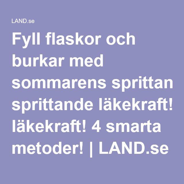 Fyll flaskor och burkar med sommarens sprittande läkekraft! 4 smarta metoder! | LAND.se
