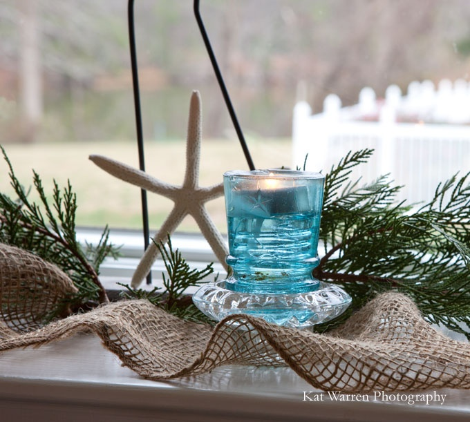insulator as a candle holder: Kitchens Window, Christmas Decor Ideas, Window Sill, Winter Holidays, Christmas Candles, Holidays Decor, Window Decor, Christmas Ornament, Coastal Christmas
