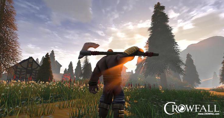 Crowfall  game screenshot, Champion. You can see more on https://crowfall.com/  #Crowfall #gaming #MMO #PvP #MMORPG #RPG #multiplayer #online #PC #screenshot #champion #morning #meadow