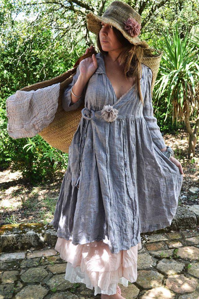 Blue linen/cotton wrap dress. Also cute grass hat and bag
