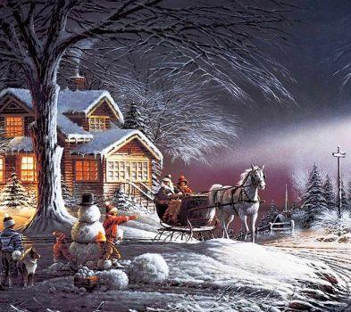 Christmas snow scene. (72 pieces)