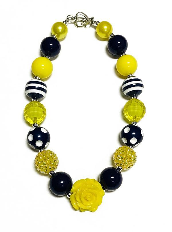 BLACK & YELLOW BUBBLE NECKLACE WITH ROSE PENDANT