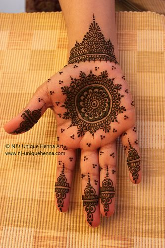 henna. Very cool that its on the palm on the hand