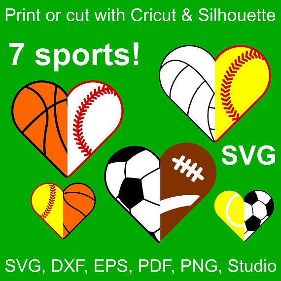 7 Sports Half Hearts Svg Files For Cricut Silhouette 14 Etsy In 2021 Sports Sports Mom Soccer Tennis