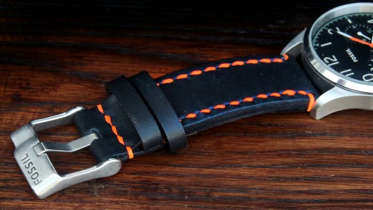 Leather watch band, T907. Handmade.