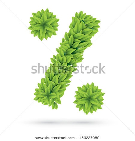 #Percent #sign #made #of #green #spring #leafs - #stock #vector